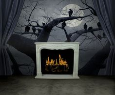 Foreboding black and white wall mural- perfect for Halloween!