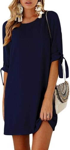Enjoy exclusive for YOINS Summer Dresses Women Long Sleeves T Shirts Solid Crew Neck Tunics Self-tie Blouses Mini Dresses online - Thehotnewreleases Clothing Store Design, Womens Clothing Stores, Clothes For Women, Tie Blouse, Blouse Dress, Dress Outfits, Fashion Outfits, Overall Dress, Mini Dresses