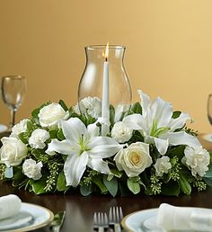 Holiday Cheer #Centerpiece with Glass Hurricane - #homedecor $59.99