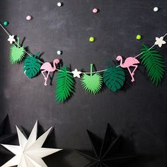 Flamingos Coconut Leave Garland Banner - Birthday, Bachelorette, Wedding Party Supplies