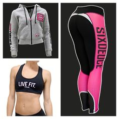 Six Deuce Mesh Tech Pink Beat Mode Leggings matched with Six Deuce Hoodie and Live Fit Sports Bra
