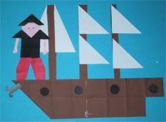 boot met piraat, vouwwerkje voor kleuters