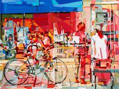 "Saatchi Art Artist Noemi Safir-Dolev; Painting, ""Coffee at the Bv."" #art"