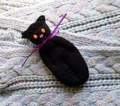 Lavender Filled Sachet Handmade Sock Doll Black Cat With Orange Eyes #Pedricks