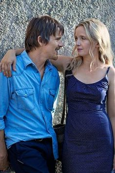 "Ethan Hawke and Julie Delpy in Richard Linklater's ""Before Midnight"". Ethan looks older than he is here. Before Sunrise Trilogy, Before Trilogy, Julie Delpy, Ballet Top, Elle Fashion, Classic Fashion, Ethan Hawke, Movie Couples, Teen Couples"
