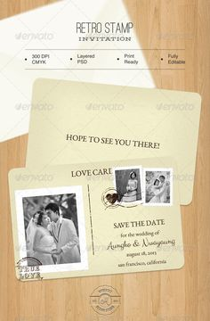 Retro Stamp Invitation — Photoshop PSD #couple #typo • Available here → https://graphicriver.net/item/retro-stamp-invitation/4767197?ref=pxcr
