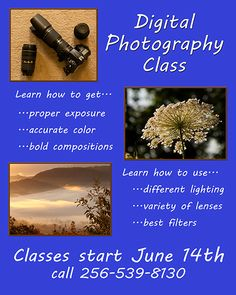 Learn too use your expensive DSLR or mirrorless  camera in our Beginning Digital Photography Class starting June 14 and going for five Thursday evenings, 10 hours of instruction and practical exercises.  The classes will be in the Huntsville Art league Gallery at Lowe Mill from 6:30 dot 8:30 PM.  Only a few of the 12 seats left!
