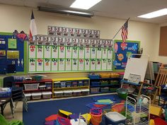 Chalk Talk: A Kindergarten Blog: Classroom Set-up.... 1 cute numberline and alphabet as focus for rug area, easel and chair to the right, teacher table and math/behavior board to the left
