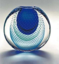 Murano Master Glass Artists - Sommerso Spirali Blu Glass Bowl
