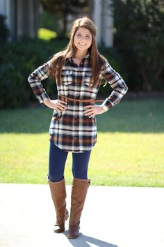 See it in Color Plaid Tunic Dress - Navy