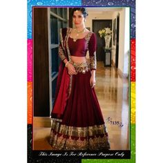 Bollywood Replica-Sophie Chaudhary In Designer Maroon Pure Silk Bridal Lehenga Choli-7135( SIA -S-7000 )