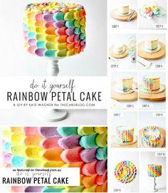 rainbow petal cake