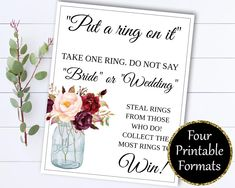 Put A Ring On It Bridal Shower Games -  Dont Say Bride Ring Game - Dont Say Wedding Ring Game - Ring On It Game - Don't say Bride Game by MintedMemories on Etsy