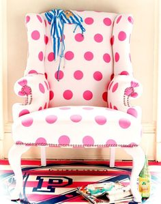 Pink Polka Dot Nursery Chair not the fabric but I have a chair from my grandmother than I want to do something similar with. Polka Dot Nursery, Childrens Room, Polka Dot Chair, Big Girl Rooms, Everything Pink, Funky Furniture, Pink Polka Dots, Pink Dot, My New Room