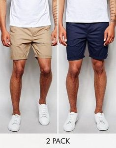 DESIGN 2 pack slim chino shorts In stone & navy save is part of Short men fashion - Browse online for the newest ASOS DESIGN 2 pack slim chino shorts In stone & navy save styles Shop easier with ASOS' multiple payments and return options (Ts&Cs apply) Best Shorts For Men, Mens Summer Shorts, Only Shorts, Men's Shorts, Mens Chino Shorts, Navy Shorts Outfit, Short Shorts, Blue Shorts, Summer Outfits Men
