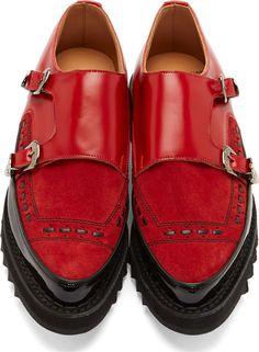 Johnlawrencesullivan Red couro adornado Monk Strap Shoes