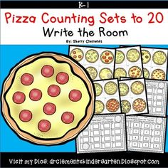 Pizza Write the Room (Counting Sets 1-20) - Math Center --- This resource includes five pages of numbered cards in color with a total of 30 cards. Each numbered card has a set of pizza/pizza toppings graphics to represent each number 1-20. Teachers should copy the cards on cardstock (for