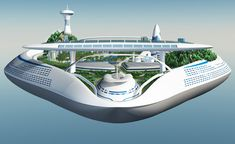 A large cruise ship like the future city of machines and a city floating in the sky Cyberpunk City, Futuristic City, Futuristic Architecture, Amazing Architecture, Urban Island, Floating Architecture, Dark Images, Concept Ships, Contemporary House Plans