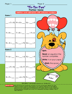 Looking for some sweet addition and subtraction fact review? This adorable partner game is FREE at themailbox.com. A spinner and recording sheet are also included! Here's the direct link http://www.theeducationcenter.com/editorial_content/tic-tac-two-partner-game-and-spinner