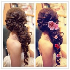 Love the side pony/loose braid. Instead of flowers, hair clips
