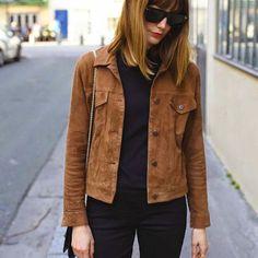 Veste suede marron camel cuir femme