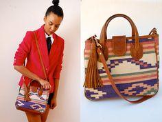 Vtg Tribal Aztec Print Tasseled Crossbody Bag  http://www.etsy.com/shop/LuluTresors