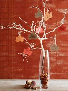 Thanksgiving Tree. Send kids out on a hunt for the perfect branch. have everyone write down what they're most thankful for. use as a centerpiece!