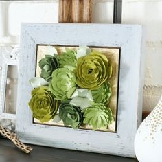 Create these beautiful Framed Paper Succulents in minutes.