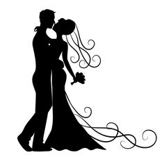 Looking for QUICK and EASY Wedding Decor? Life-size BRIDE & GROOM WALL SILHOUETTES are a perfect wedding backdrop.Full-size bride and groom silhouette removable wall decals. Silhouette Images, Silhouette Portrait, Black Silhouette, Silhouette Design, Silhouette Vector, Kissing Silhouette, Bride And Groom Silhouette, Wedding Silhouette, Silhouette Cameo Projects
