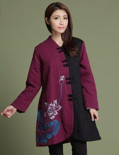 Chinese Style Cost/ Jacket - Modern Chinese Style Clothing: Peaceful Lotus (Purple/ Wine Red) $109.99 (82,87 €)