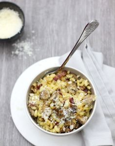 Coquillettes aux champignons, façon risotto Chorizo, Risotto Coquillette, How To Cook Pasta, Cheeseburger Chowder, Food Inspiration, Oatmeal, Food And Drink, Meals, Cooking