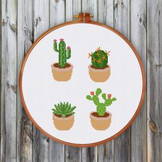 Cactus cross stitch pattern| Cute modern succulent counted chart| Easy nature…