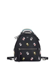 Zaino+Mini+Floral-Embroidered+Backpack,+Black+by+Fendi+at+Neiman+Marcus.