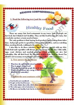 It´s a reading comprehension activity about bad and good eating habits.The children find out about the negative effect of fast food on their health. Social Studies Worksheets, 2nd Grade Worksheets, Reading Worksheets, Reading Comprehension For Kids, Reading Intervention, Comprehension Strategies, Reading Response, English Stories For Kids, English Words
