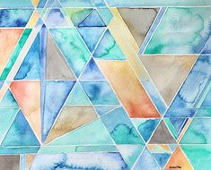 Original Geometric Watercolor Painting Abstract by sandraculliton, $80.00