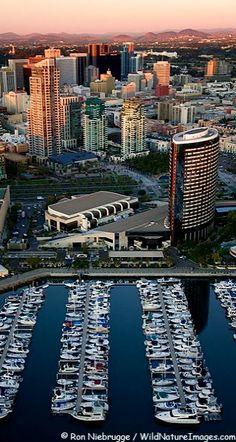 Aerial view of Embarcadero Marina Park and downtown San Diego, California, U.S