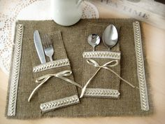 Bride and Groom table setting, Burlap wedding table decorations, country rustic, Garden, woodland cottage, French country weddings on Etsy, $52.00