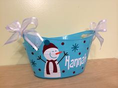 Personalized oval tub  Christmas winter Gift basket by DeLaDesign, $14.00