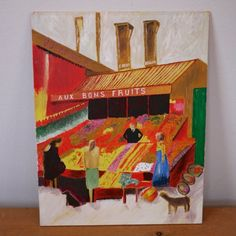 Vintage-Original-1986-Rue-Mouffetard-Paris-French-Fruit-Stand-Painting-Signed