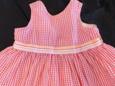 Old Navy Baby Girl Dress 3-6M Pink Gingham Cotton Orange Ribbon Lined #OldNavy #DressyEveryday