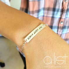 Fine Jewelry 925 Silver Logoart Sororities Alpha Gamma Delta Enameled 8in Slip Bangle Products Hot Sale Precious Metal Without Stones