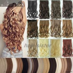Mega Thick Clip In On Hair Extensions One Piece Straight Curly Wavy As Human Sn0
