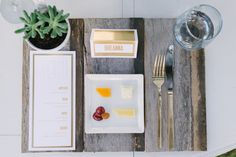 reclaimed wood placemat, tasting plate, and details! // photo by rusticwhitephotography.com, design by theeverylastdetail.com, stationery by apdesignco.com