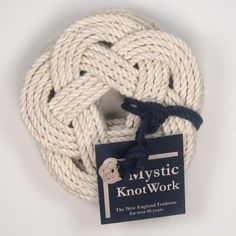 Sailor Knot Coasters, Woven in White, Set of 4