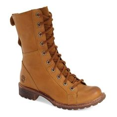 """Timberland'Stoddard' Mid Waterproof Lace-UpBoot, 1 1/4"""" heel ($170) ❤ liked on Polyvore featuring shoes, boots, ankle booties, ankle boots, brown, platform ankle boots, short brown boots, brown ankle booties and brown ankle boots"""