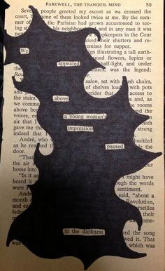 Poetry on book pages. Find words that form a mini story or poem and black out the rest. Book art, sharpie, word art