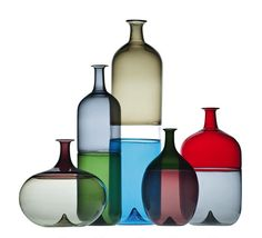 Mid-century glassware is unique in style and quality Tapio Wirkkala, Bolle collection glassware Bottle Design, Glass Design, Design Art, Interior Design, Modern Decorative Objects, Decorative Items, Making Glass, Art Of Glass, Hand Blown Glass