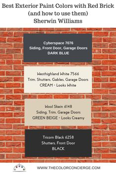 Are you stumped about the best colors to paint your house to match your red brick? This article shows the best exterior colors to use with red brick and how to use them, featuring Sherwin Williams paint colors. #redbrickhouse #exteriorpaintcolors #thecolorconcierge #colorsmadeeasy #sherwinwilliams #swwesthighlandwhite #swcyberspace #swwoolskein #swtricornblack