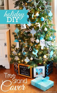 A Christmas tree stand cover that doesn't require fabric. Check out this easy, really...it is easy DIY Christmas tree stand cover using pictures frames, cardboard, and a staple gun. | In My Own Style