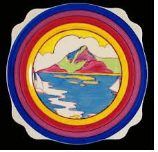 GIBRALTAR Large Leda shape plate in the Gibraltar pattern. Back-stamp is Fantasque Bizarre by Clarice CLIFF. Clarice Cliff, Art Deco Period, Art Deco Era, Home Crafts, Arts And Crafts, Ceramic Artists, Art Deco Fashion, Pottery Art, Antiques